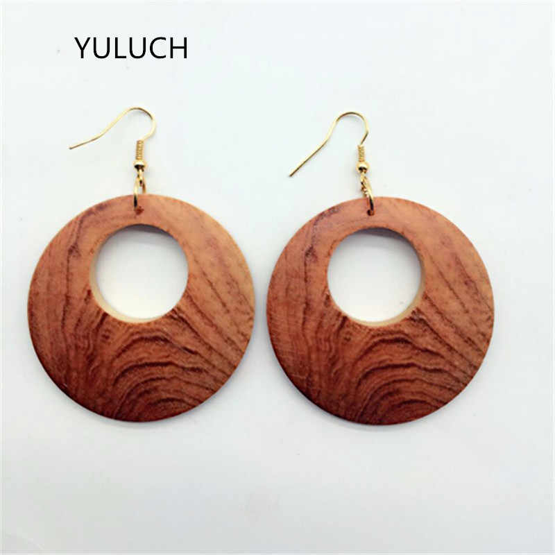 YULUCH 2017 New Revision Both Side of Same 100% Handmade Graved Wood Earrings African Earring Dangler Woman Jewelry