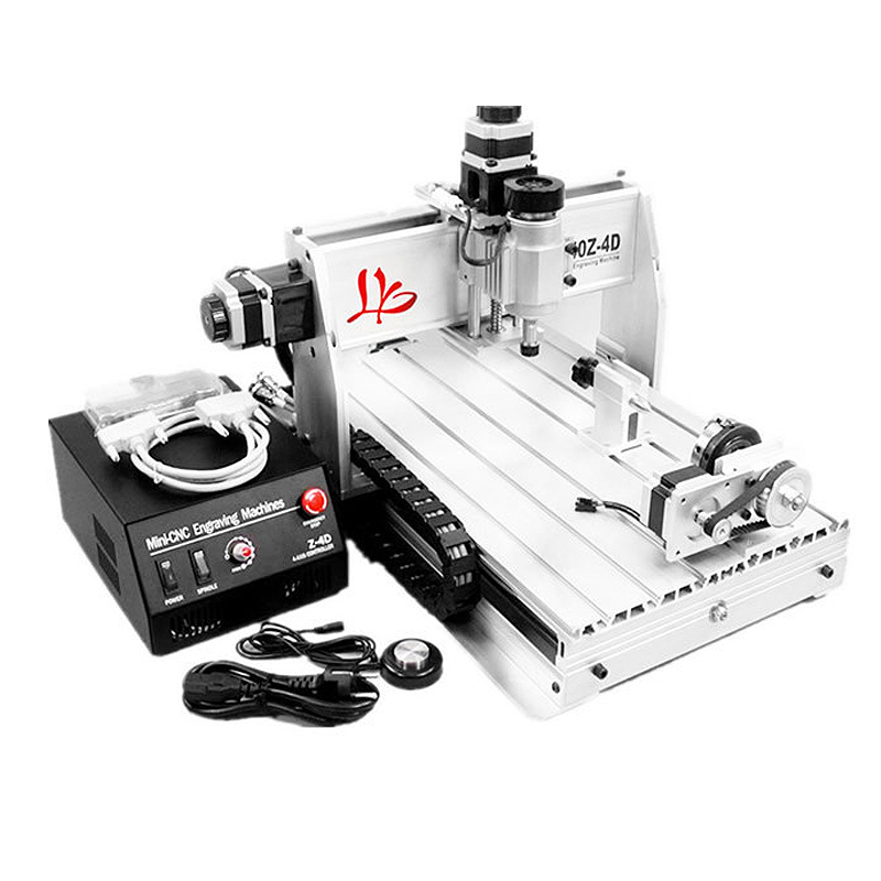 Free Shipping CNC 3040 Z-DQ 4 axis 3D wood engraving machine PCB carving router with ball screw tool auto-checking instrument russia tax free cnc woodworking carving machine 4 axis cnc router 3040 z s with limit switch 1500w spindle for aluminum