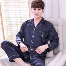 Casual Pajamas Set Long Sleeve&pant Men 2pcs Nightwear Sleep