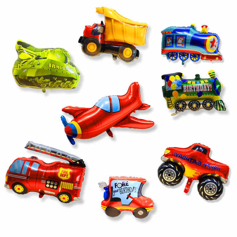 Baru Api Besar Mobil Pesawat Foil Balon Hero Pesta Ulang Tahun Dekorasi Liburan Tank Kartun Bus Pesawat Truk Balon mainan