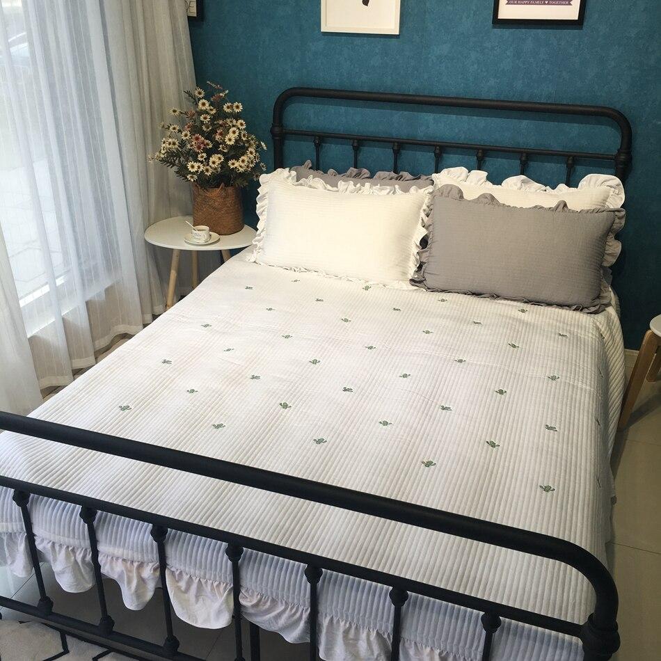 Blanc cactus broderie couverture de lit pour l'été, multi-taille épais coton/polyester matelassé couvre-lit, couverture ensemble couverture couverture