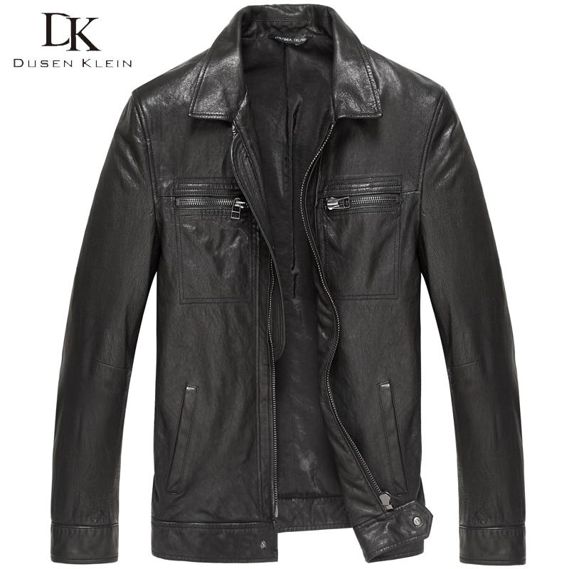 Dusen Klein New Men Genuine Leather Jacket Tanned Leather Black/Slim/Simple Casual/Sheepskin Coat 15S1421