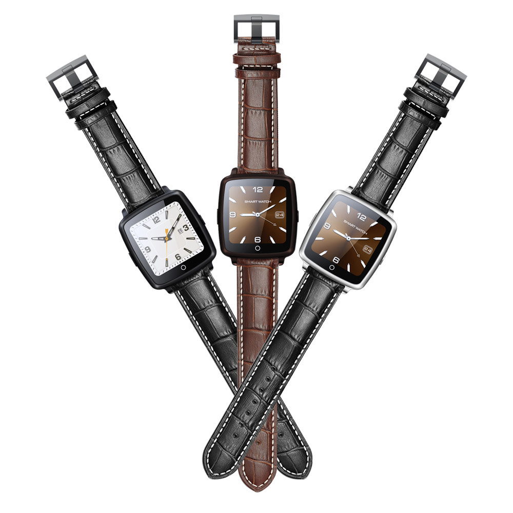 Uwatch Leather Strap font b Smartwatch b font Bluetooth Smart Watch Wristwatch for IPhone 5 6