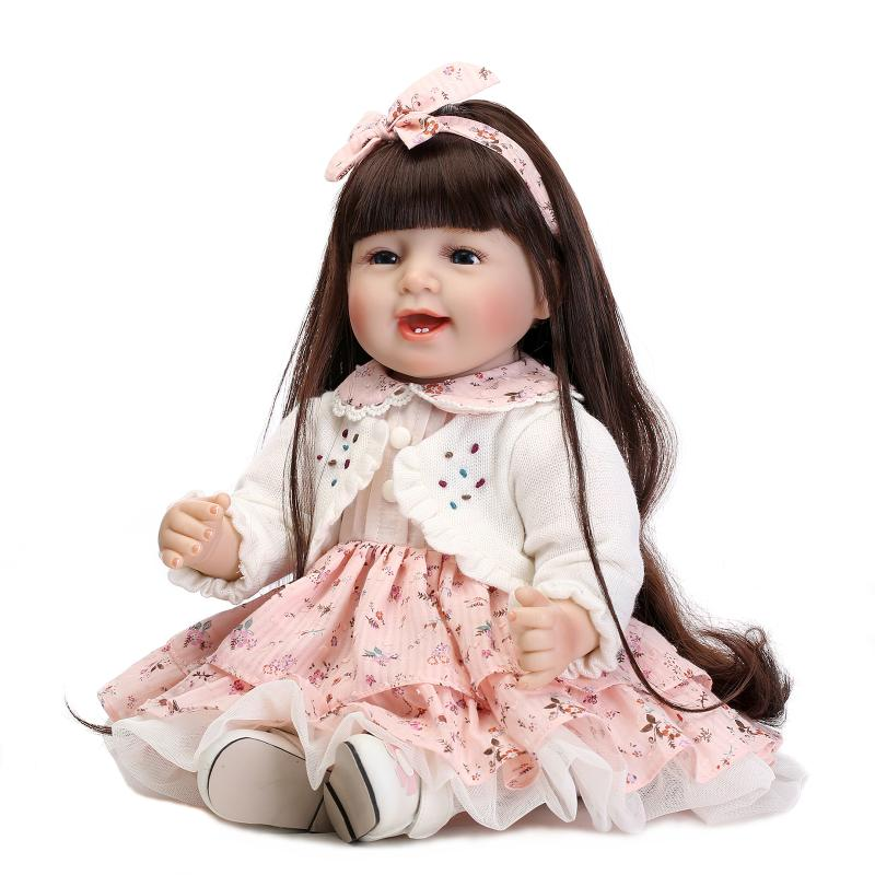 Fashion baby girl dolls reborn 22 NPK silicone reborn baby doll cloth body long hair princess BJD bebes reborn bonecasFashion baby girl dolls reborn 22 NPK silicone reborn baby doll cloth body long hair princess BJD bebes reborn bonecas