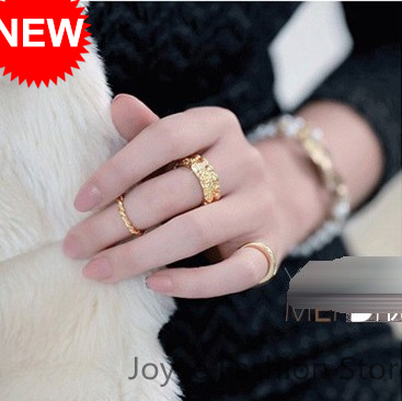 the cheapest price Fashion Ring,Korean Style Gold Plated Charms Rose Flower Ring,3psc/set,Vintage Accessories For Women