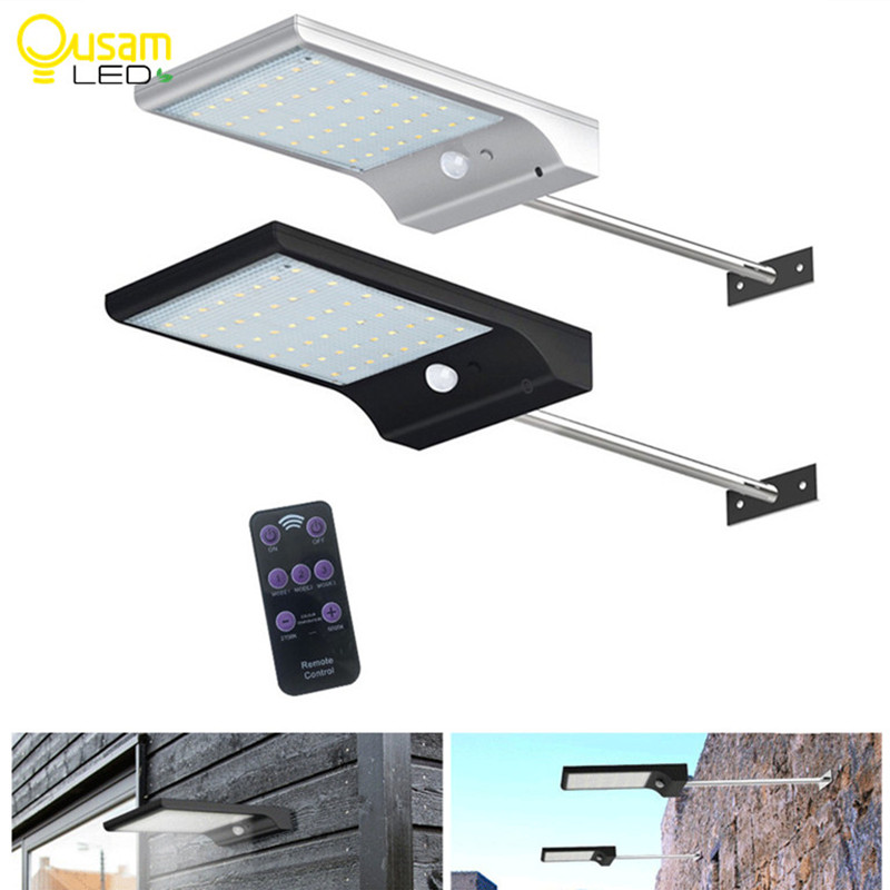 48LED Solar Light PIR Motion Sensor Solar Powered Lamps With Remote Control For Garden Outdoor Lighting Waterproof With Pole