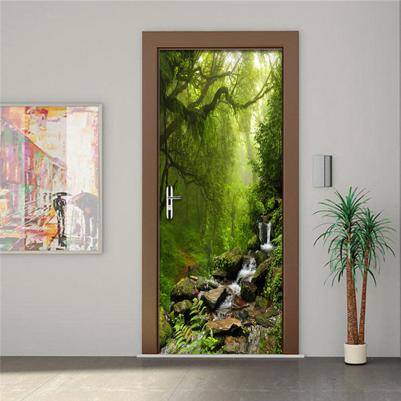 Merveilleux 3D Wall Paper Creative Nature Landscape Door Mural Wallpaper PVC Self  Adhesive Waterproof Vinyl Door Poster Wallpaper Sticker 3D In Wallpapers  From Home ...