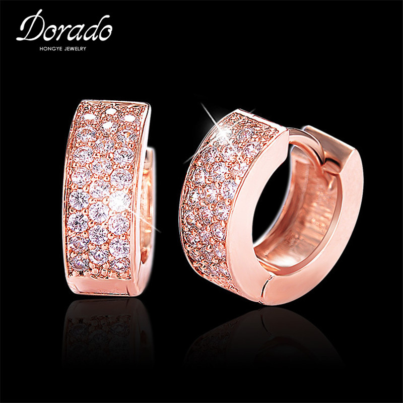Cubic Zirconia Hoop Earrings For Women Rose  Retro New Alloy Female Round Earring Fashion Wedding Ear Jewelry Brincos