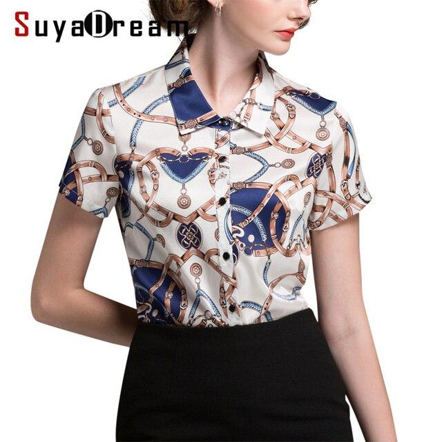 47445d8e43a8a0 R$ 349.69 |Mulheres Blusa de SEDA REAL de manga Curta senhora Do Escritório  camisa Blusa camisa da Cópia Do Vintage Plus Size Blusas femininas 2018 ...