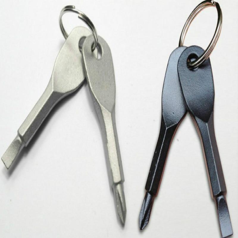 1 Set Stainless Steel Mini EDC Multifunction Screwdriver Key Shape Slotted Screwdrivers Keychain Pocket Repair Tool