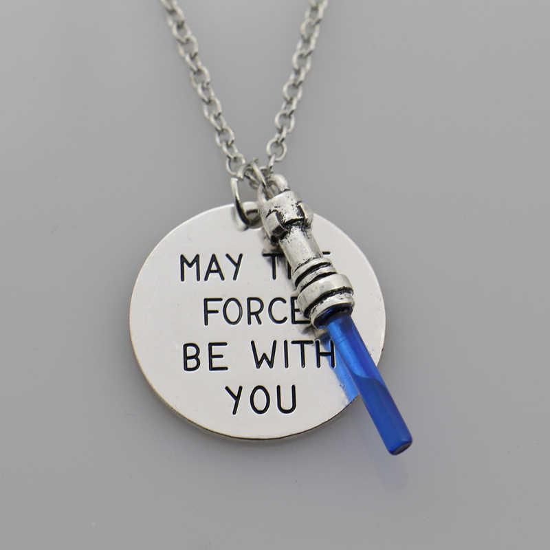 스타 목걸이는 당신과 함께 할 수 있습니다 편지 목걸이 펜던트, 포스 Awaken 빛의 검 Lightsaber Jewelry