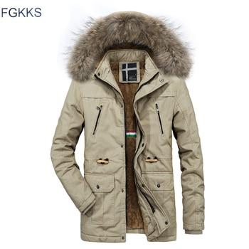 FGKKS Brand Men Warm Casual Parkas 2019 Winter Male Fashion Casual Parkas Coats Men's Solid Color Comfortable Parkas