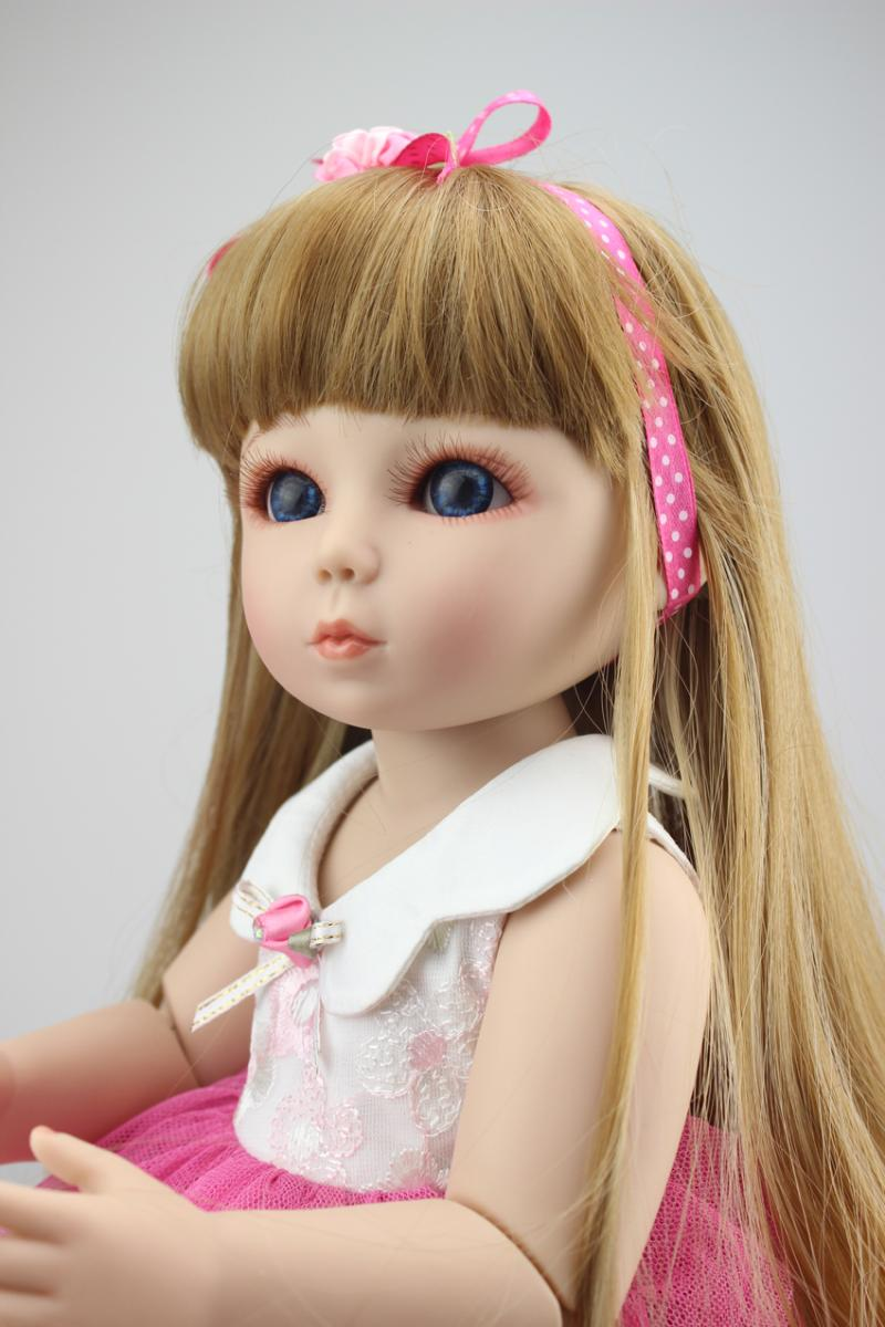 2016 Fashion Joint Doll 18'' High Quality SD/BJD Silicone Reborn Baby Dolls Realistic Doll Handmade Full Vinyl for Girls Gift 18inch handmade full silicone vinyl sd bjd doll reborn with professional design clothes for dolls must be the best gift of kids