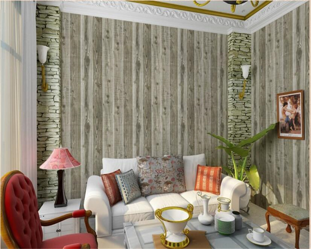 Beibehang Household adornment wallpaper do old imitation wood grain country style restoring ancient ways wallpaper for walls 3 d new household decorates nostalgic american country pure paper wallpaper restoring ancient ways brush paint process living room