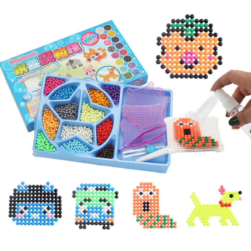 12 color Water Aqua beads sticky pegboard fuse jigsaw puzzle educational toys diy Puzzle ...