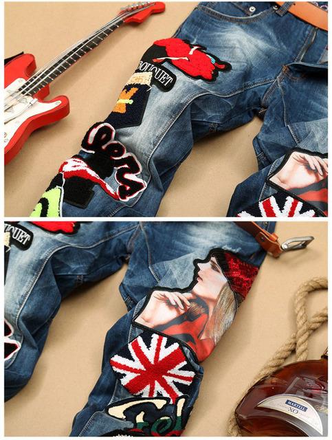 Europen style américain hommes marque de mode coton Patchwork hommes denim pantalons jeans colorés luxe mince droite jeans hommes
