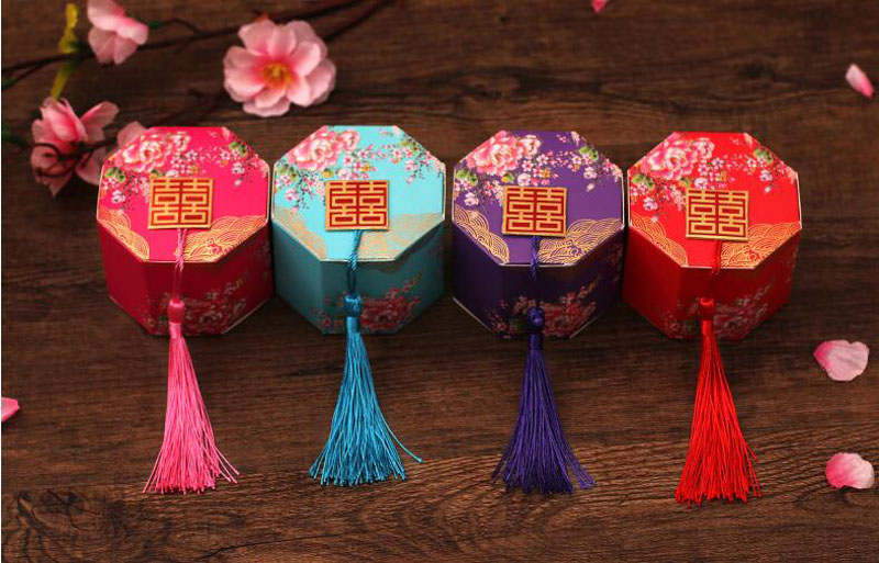 100 pcs/lot nouveau chinois Double bonheur boîte à bonbons parti faveur emballage chocolat emballage avec des glands