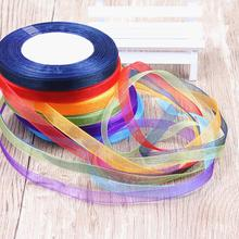13mm Multicolor optional 45Yards a roll organza ribbons gift wedding Christmas decoration wrapping ribbons DIY material(China)