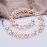 3 Row Natural Freshwater Choker Multilayer Pearl Necklaces Women Real Pearl Necklace Wedding Bridesmaid Collar Mom