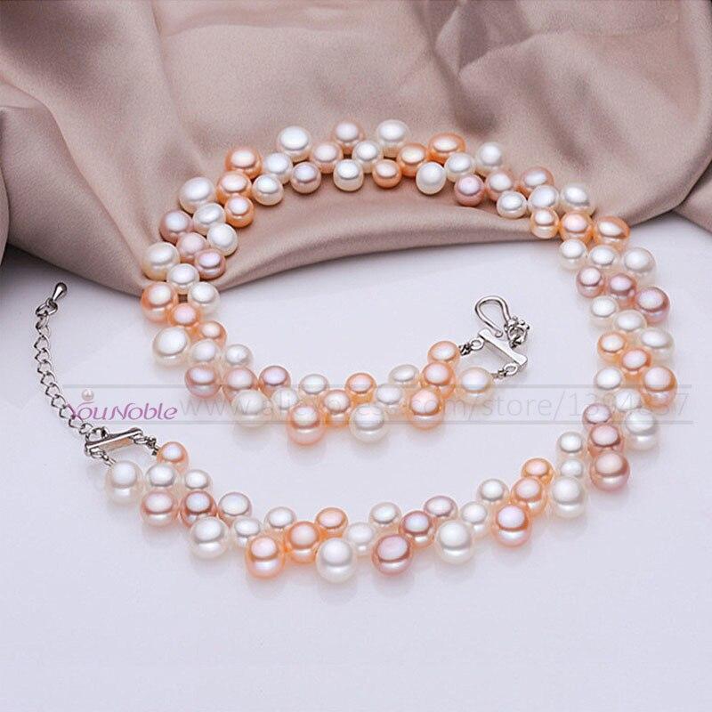 3 rangée naturel d'eau douce ras du cou multi couche perle colliers femmes, vraie perle collier de mariage collier maman cadeau d'anniversaire