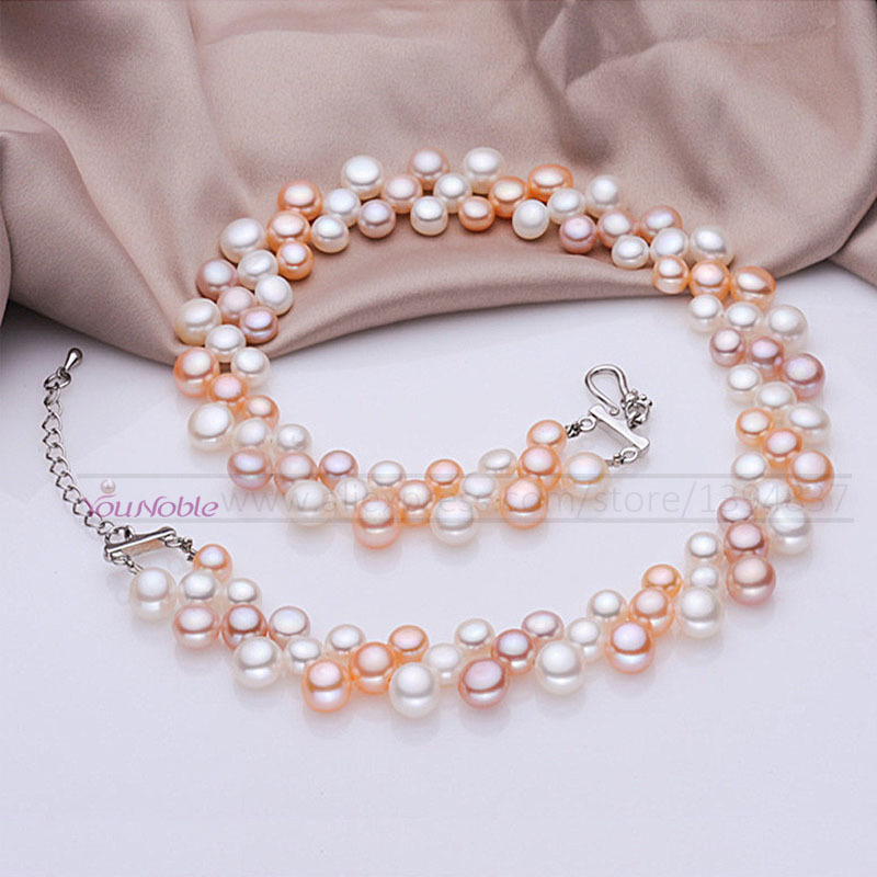 3 row natural freshwater choker multi layer pearl necklaces women,real pearl necklace wedding collar mom birthday gift