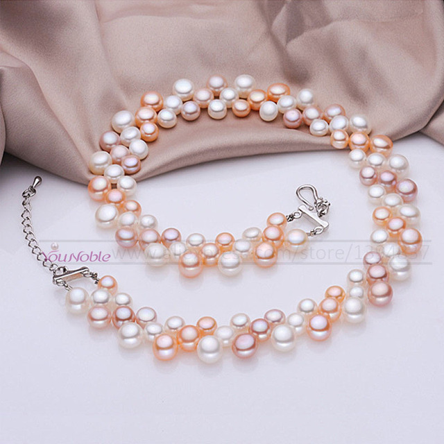 3 row natural freshwater choker multi layer pearl necklaces women,real pearl nec