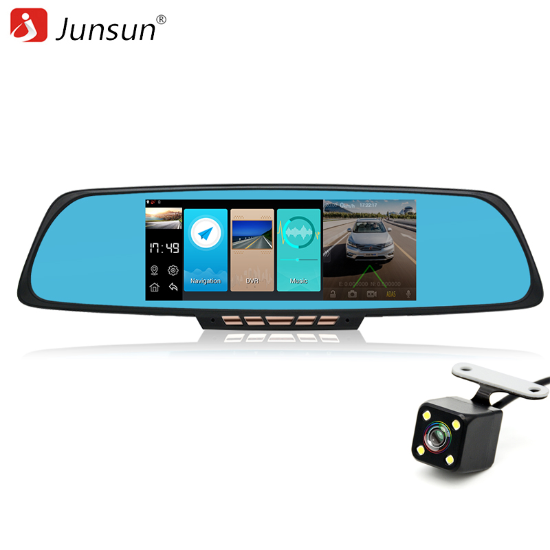 Junsun 6.86 Car DVRs ADAS Rear view mirror with DVR and camera PIP Video recorder Autoregistrators Dual Lens 1080P dashcam WIFI intelligent quad channel car camera video recorder dvr for rear front side view camera four split screen with remote controller