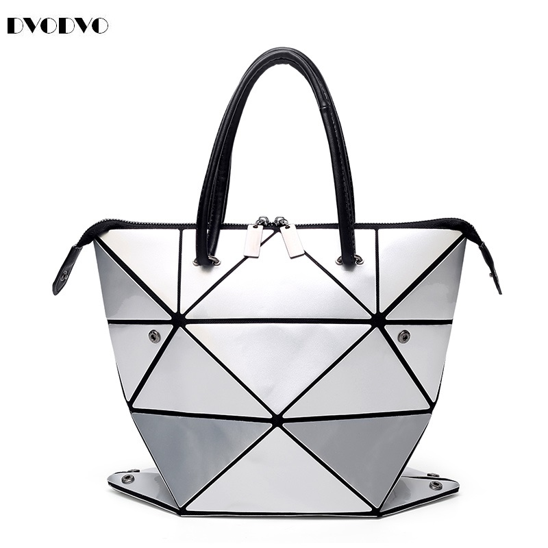 DVODVO Women BaoBao Bag Geometry Sequins Mirror Saser Plain Folding Bags changeable Handbag Casual Tote Bao Bao Bucket bag