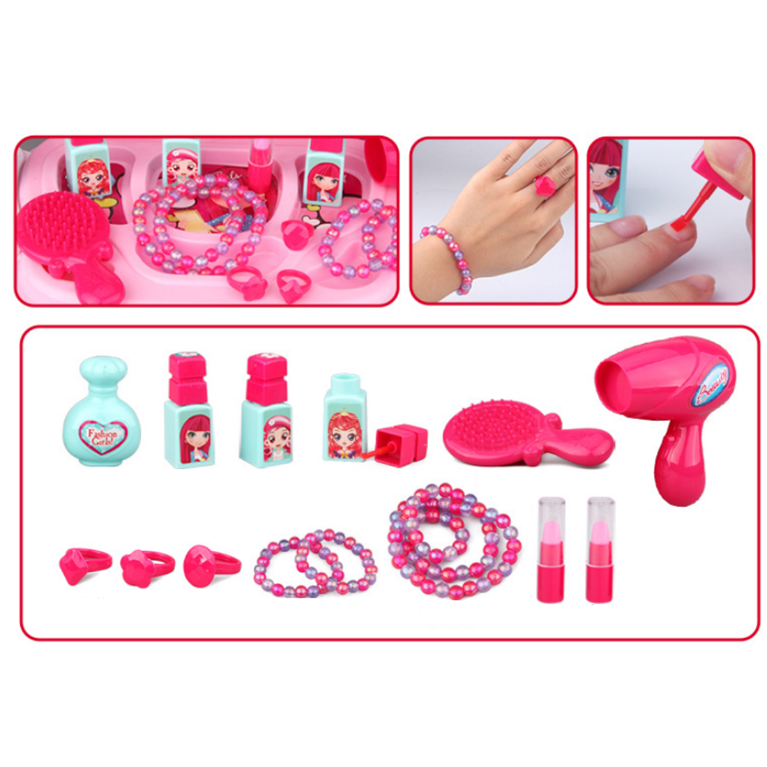 Children Makeup Set Pretend Play Cosmetic Toy Simulation Dress and Make up Travel Case Toys Girl Birthday Gift Hot Sale Pink in Furniture Toys from Toys Hobbies