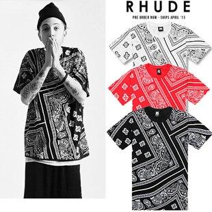 Allover Paisley Rhude Bandana Print Graphic Tee T Shirt Black White Red Tyga Hip Hop
