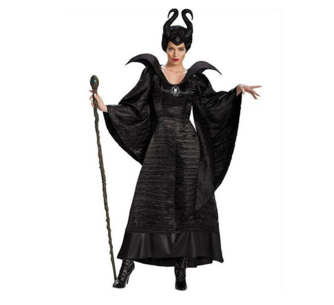 Women Halloween Costumes Sexy Black Sleeping Beauty Witch Queen Maleficent Dresses Hat  Adult Party Cosplay Fancy Dress