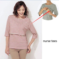 3Colors Maternity Nursing T-shirt Clothing for Breastfeeding Clothes Long-sleeved Striped Breast Feeding T-shirts Ropa Lactancia