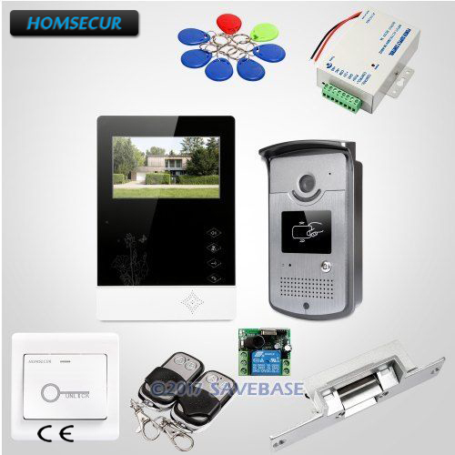HOMSECUR 4.3 Wired Video Door Intercom System with IR Night Vision for Home Security 1V1+Strike Lock