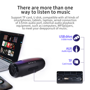 Image 4 - TG165 Portable Bluetooth Speaker Stereo Leather Column 5 Flash Style LED Subwoofer Wireless Outdoor Music Box FM Radio TF Card