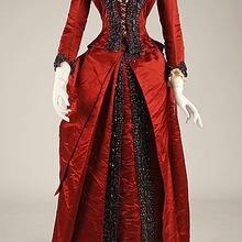 Викторианский красный Американский длинный ужин платье Суета бальное платье Бутик Одежда