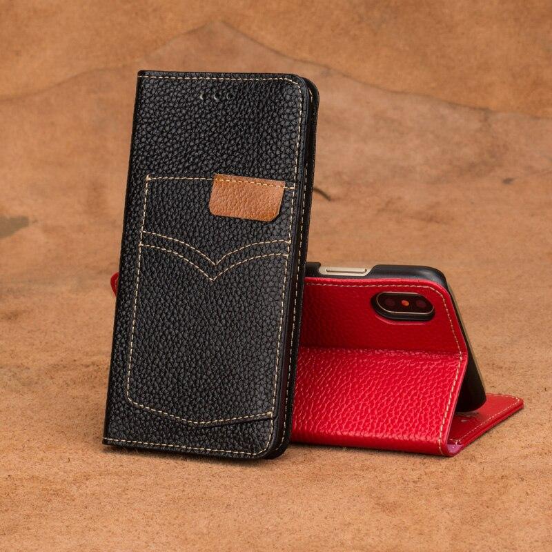 LANGSIDI marque cas de téléphone portable à clapet denim titulaire de la carte téléphone cas Pour Xiaomi Mi 5 main-fait mobile téléphone shell