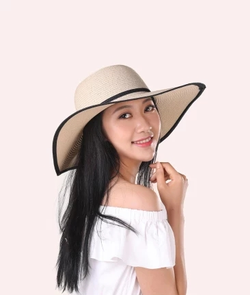 New Women Big Visor Hat Outdoor Seaside Sun Straw Hat Foldable Beach Hat Sun Protection Riding Cap