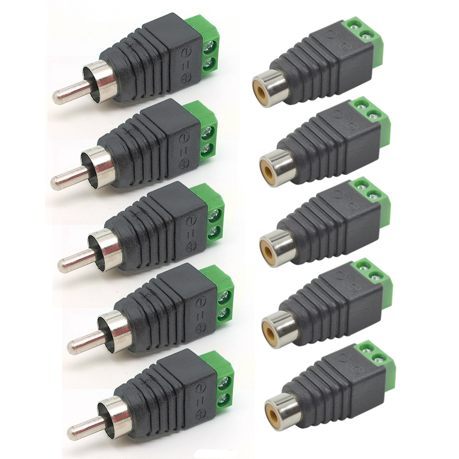10 pcs high quality speaker wire cable to audio male female rca connector adapter jack [ 910 x 910 Pixel ]