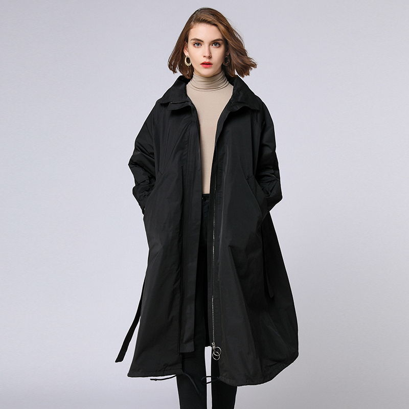 Women's Plus size   trench   coat loose Elegance turn down collar Adjustable Waist coats Collect waist Euramerican autumn winter new