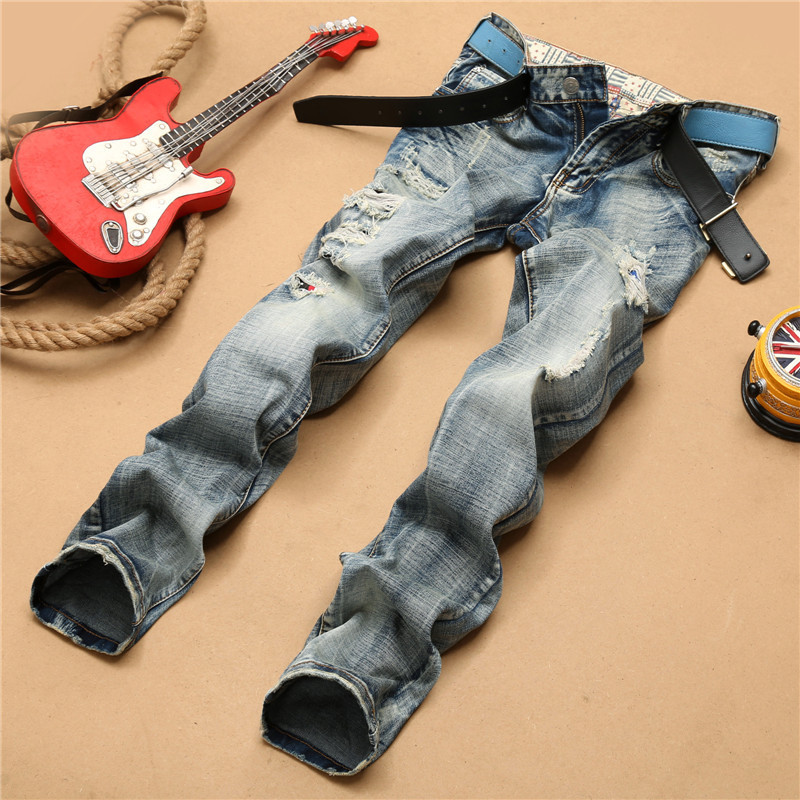 Classic casual slim straight destroyed jeans torn men streetwear patchwork patches hip hop blue denim pants retro trousers boys