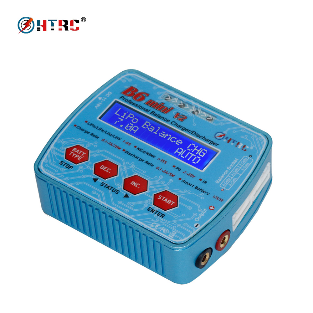 HTRC B6 Mini V2 70W 7A Digital RC Balance Charger Discharger for Lipo Lihv LiIon LiFe NiCd NiMH Battery AC Adapter Optional ocday 1set imax b6 lipo nimh li ion ni cd rc battery balance digital charger discharger new sale