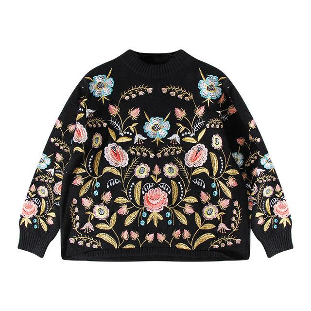 [Soonyour] 2017 hot nova primavera em torno do pescoço manga comprida haa1209 flor bordado tricô camisola da forma das mulheres
