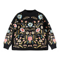 [soonyour] 2017 hot new spring  round neck long sleeve flower embroidery knitting sweatshirt women fashion HAA1209