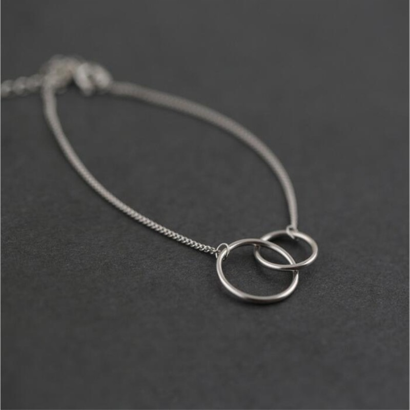 New Sweet Personality Fashion 925 Sterling Silver Jewelry Double Circle Female Round Simple Popular Bracelets  SB130