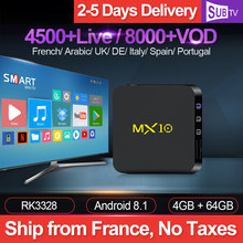 MX10 IPTV France Subscription Box Android 8.1 4G 64G USB3.0 RK3328 with SUBTV 1 Year Code French Belgium Arabic Dutch IP TV(China)