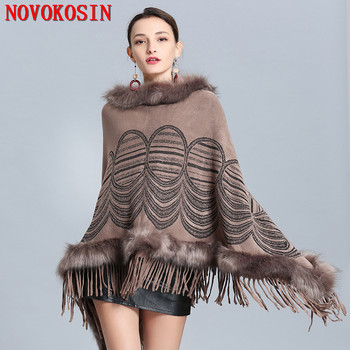 2019 Winter Knitted Poncho Cape Fur Loose Pullover Women Long Triangle Faux Cashmere Plus Size Round pattern Sweater Shawl faux fur embellished eyes pattern jumper