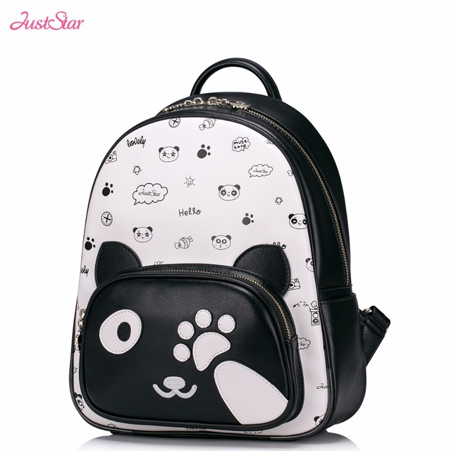 40ea84b9e3 Just Star Brand Design Cute Panda Collage Printing PU Leather Women Backpack  Travel Bag For Girls