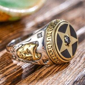 Image 3 - V.YA 925 Sterling Silber Invertiert Pentagramm Ring für Männer mit Naturstein Pentagramm Ringe Schmuck Mode Männer Ring