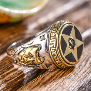 Image 3 - V.YA 925 Sterling Silver Inverted Pentagram Ring for Men with Natural Stone Pentacle Rings Jewelry Fashion Men Ring