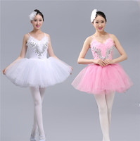 Adult Professional Platter Tutu Dress Sequins White Swan Lake Ballet Dress Women Girls Ballerina Dress Straps Ballet Costumes